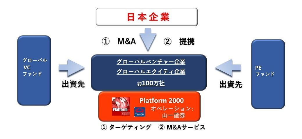 P2000のストラクチャ図:グローバルベンチャー企業、グローバルエクイティ企業 約100万社にダイレクトアプローチ(ターゲティング、M&Aサービス、提携サービス)/ VCファンド・PEファンドからの出資を受けつつ、M&A・提携を進めます。